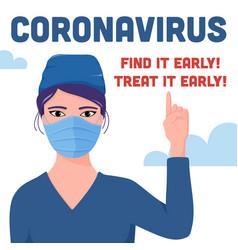 coronavirus banner poster design - female doctor vector image
