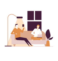 Couple at home - flat design style colorful vector