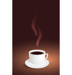 Cup of coffee on brown background vector image