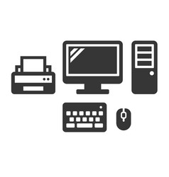 desktop computer icon on white background vector image