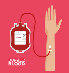 donate blood hand with tube vector image