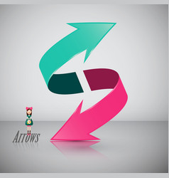 double 3d arrow symbol with girl icon vector image