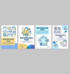 Driverless taxi brochure template layout robo-cab vector