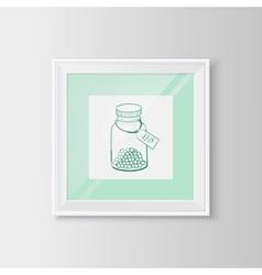 Drugs bottle sketch in a frame vector image