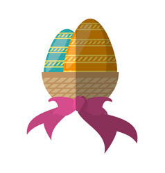 Easter basket eggs bow decoration vector