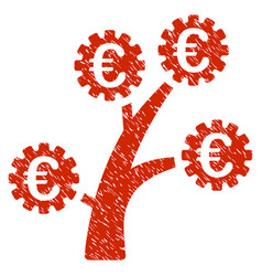 euro technology tree icon grunge watermark vector image