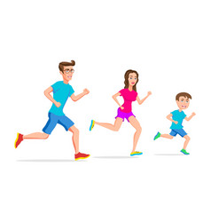 family sport running or jogging father mother and vector image