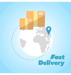 Fast delivery banner cardboard boxes symbol vector