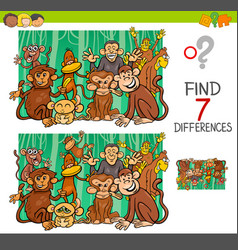Find differences with monkeys animal characters vector