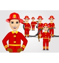Firefighters in uniform with fire hose vector