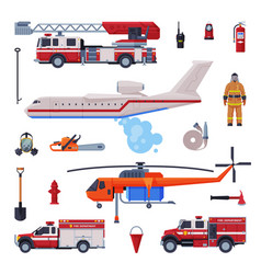 fireman equipment collection firefighting tools vector image
