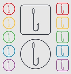 Fishing hook icon sign Symbols on the Round and vector image
