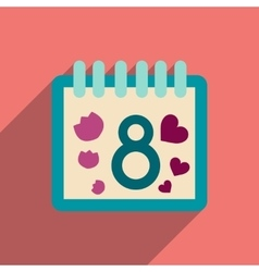 Flat icon with long shadow Women Day Calendar vector