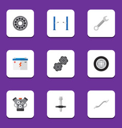 Flat icon workshop set of brake disk belt vector