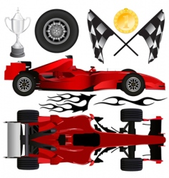 Formula car and objects vector