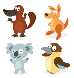 Four Cartoon Australian Animals vector image