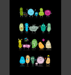 funny and scary bacteria characters isolated on vector image