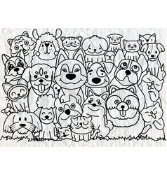 Funny dog and cute cat best friends happy vector