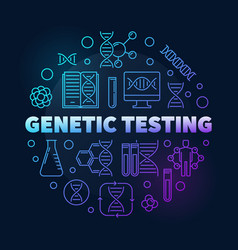 Genetic testing round colorful outline vector