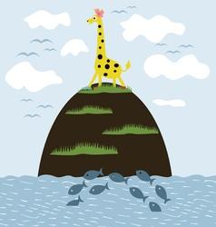 Giraffe on the island vector