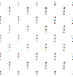 Girl with mobile phone calling pattern vector