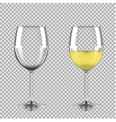 Glass of white wine and empty glass vector