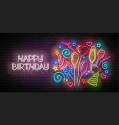 glow greeting card with balloons champagne vector image