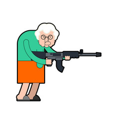 grandmother and gun evil grandma gangster with vector image