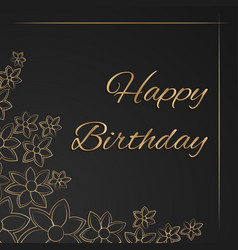 greeting card with happy birthday on dark vector image