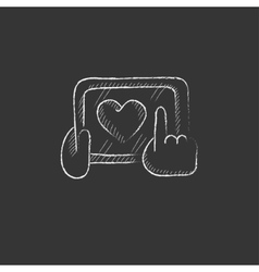 Hands holding tablet with heart sign Drawn in vector