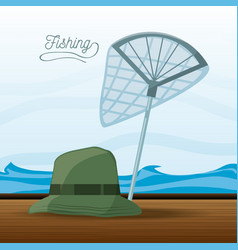 Hat and net fishing vector