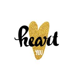 Heart gold lettering for poster vector