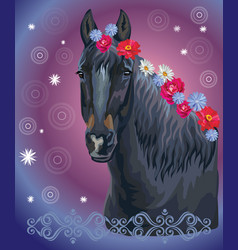 Horse portrait with flowers11 vector