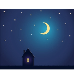 House and night sky with stars and moon vector image