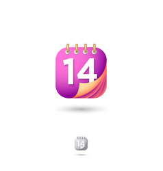 icon calendar web organizer diary numbers vector image