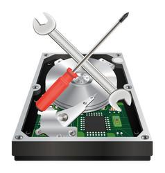Inside a internal harddisk with fix logo vector