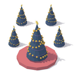 Isometric low poly christmas tree vector