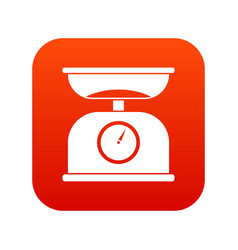 kitchen scales icon digital red vector image