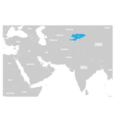Kyrgyzstan blue marked in political map south vector