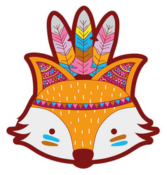 Line color cute fox head animal with feathers vector