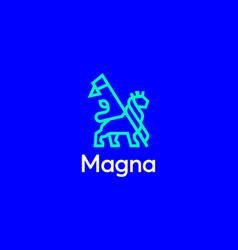 lion with a flag logo design template premium vector image