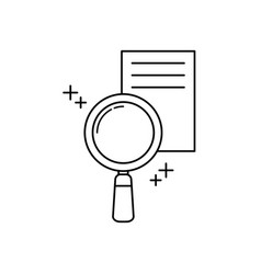 magnifying glass office line icon style vector image