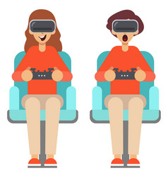 Man and woman use virtual reality glasses with vector