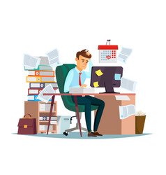 Man overwork in office of vector