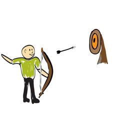 Man shoots a bow vector
