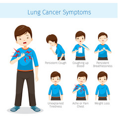 Man with lung cancer symptoms vector