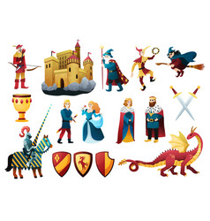 medieval kingdom elements set vector image