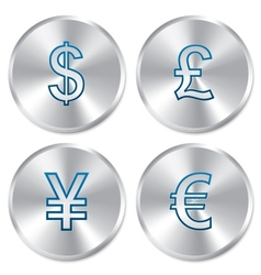 Metallic money buttons template set vector image