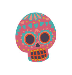 Mexican sugar skull with pattern dia de muertos vector