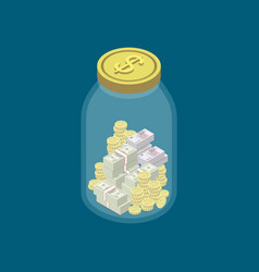 Money money safety concept with glass jar vector